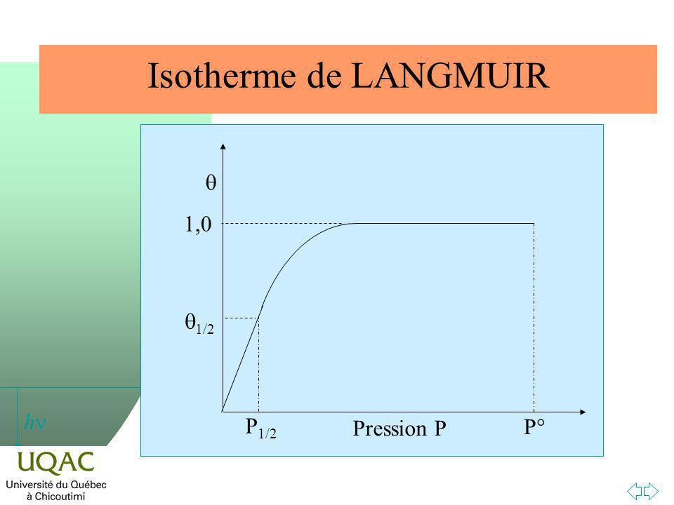 h Isotherme de LANGMUIR Pression P P 1/2 1,0 1/2 P°P°