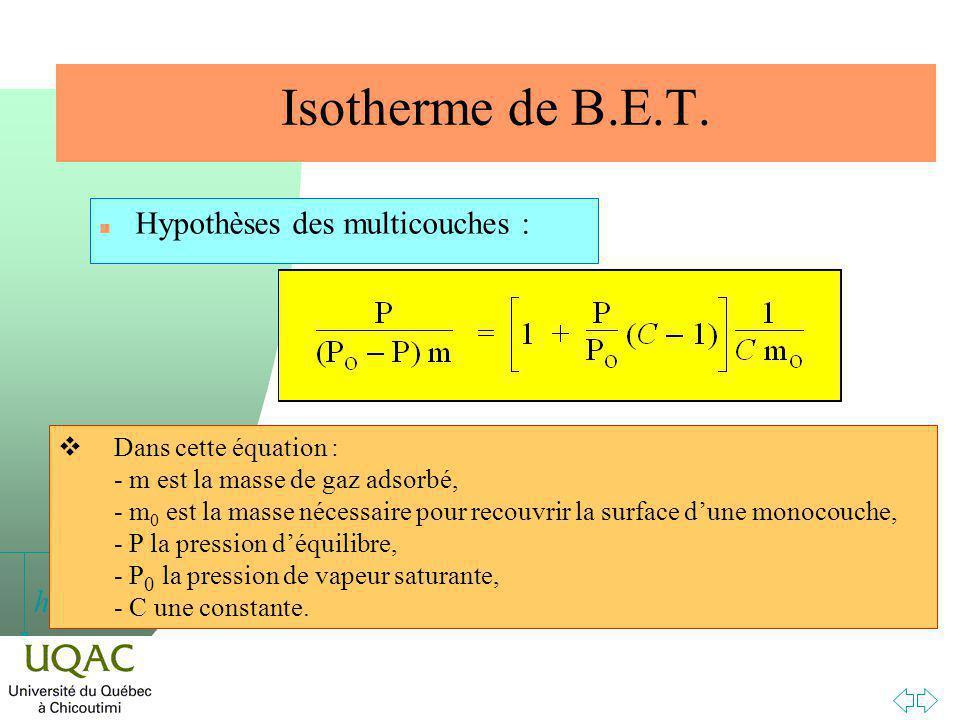h Isotherme de B.E.T.