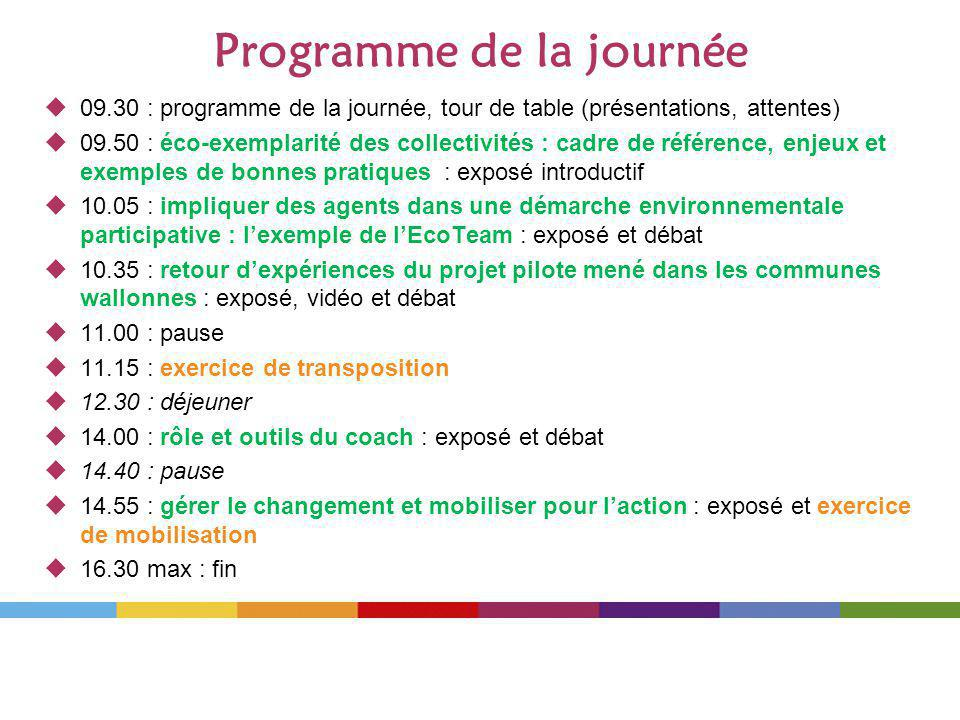 Programme de la journée 09.30 : programme de la journée, tour de table (présentations, attentes) 09.50 : éco-exemplarité des collectivités : cadre de référence, enjeux et exemples de bonnes pratiques : exposé introductif 10.05 : impliquer des agents dans une démarche environnementale participative : lexemple de lEcoTeam : exposé et débat 10.35 : retour dexpériences du projet pilote mené dans les communes wallonnes : exposé, vidéo et débat 11.00 : pause 11.15 : exercice de transposition 12.30 : déjeuner 14.00 : rôle et outils du coach : exposé et débat 14.40 : pause 14.55 : gérer le changement et mobiliser pour laction : exposé et exercice de mobilisation 16.30 max : fin
