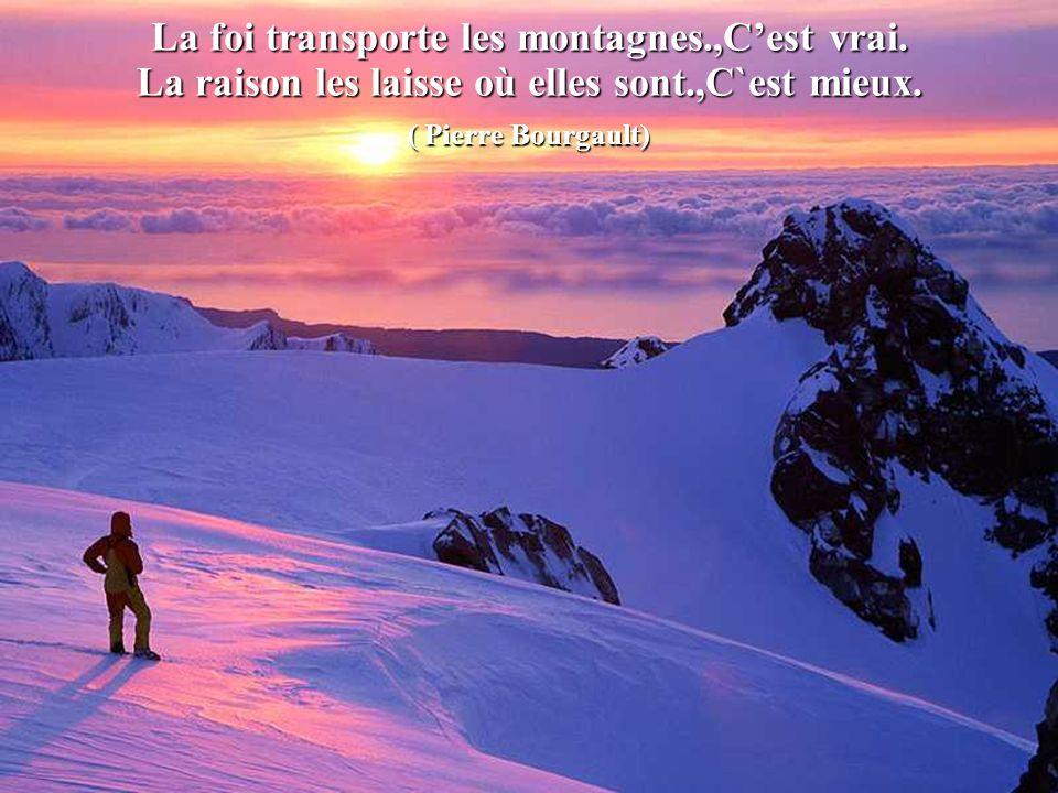 La foi transporte les montagnes.,Cest vrai.La raison les laisse où elles sont.,C`est mieux.