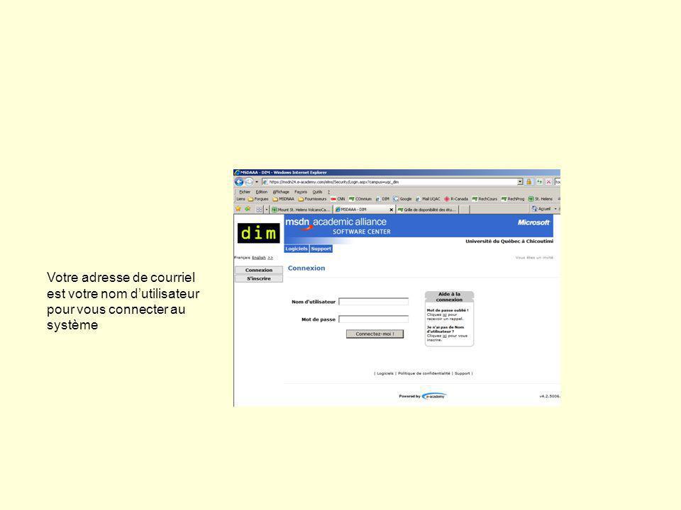 Votre adresse de courriel est votre nom dutilisateur pour vous connecter au système
