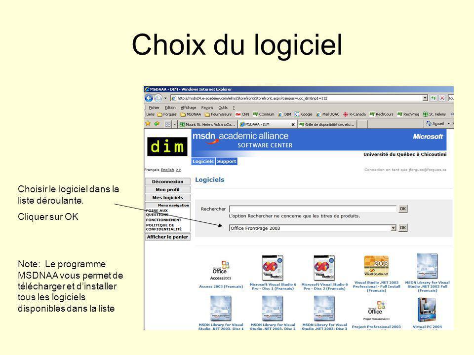 Choix du logiciel Choisir le logiciel dans la liste déroulante.