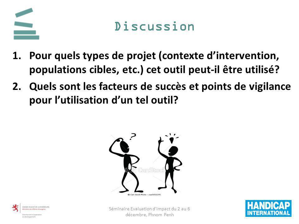 1.Pour quels types de projet (contexte dintervention, populations cibles, etc.) cet outil peut-il être utilisé? 2.Quels sont les facteurs de succès et