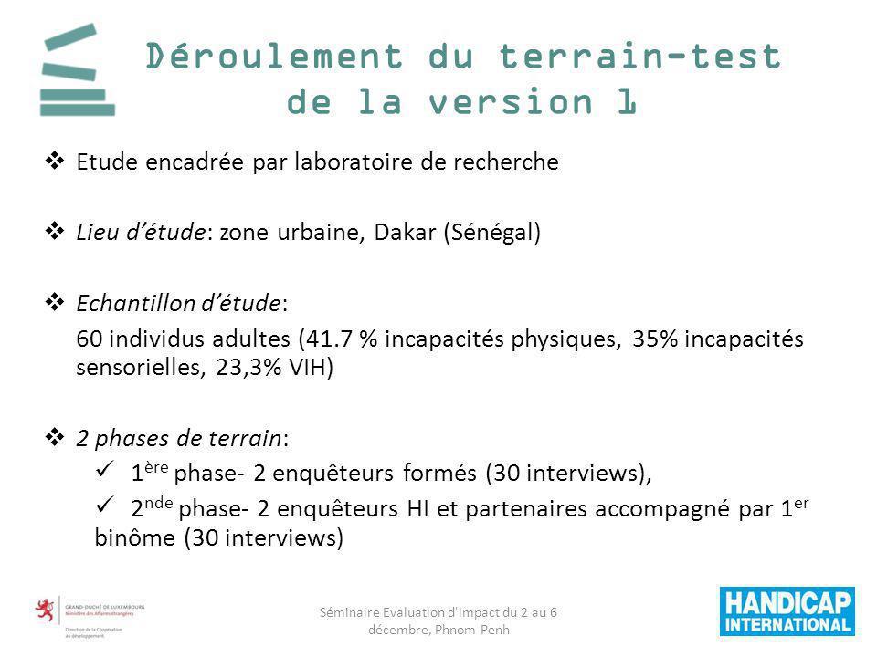 Etude encadrée par laboratoire de recherche Lieu détude: zone urbaine, Dakar (Sénégal) Echantillon détude: 60 individus adultes (41.7 % incapacités ph
