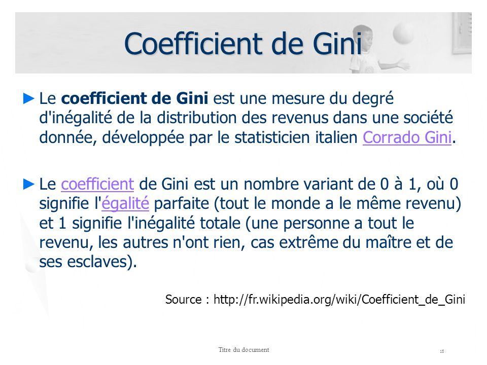 Coefficient de Gini 15 Titre du document Le coefficient de Gini est une mesure du degré d'inégalité de la distribution des revenus dans une société do