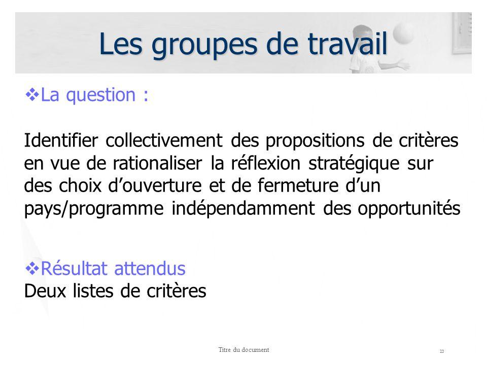 Les groupes de travail 23 Titre du document La question : Identifier collectivement des propositions de critères en vue de rationaliser la réflexion s