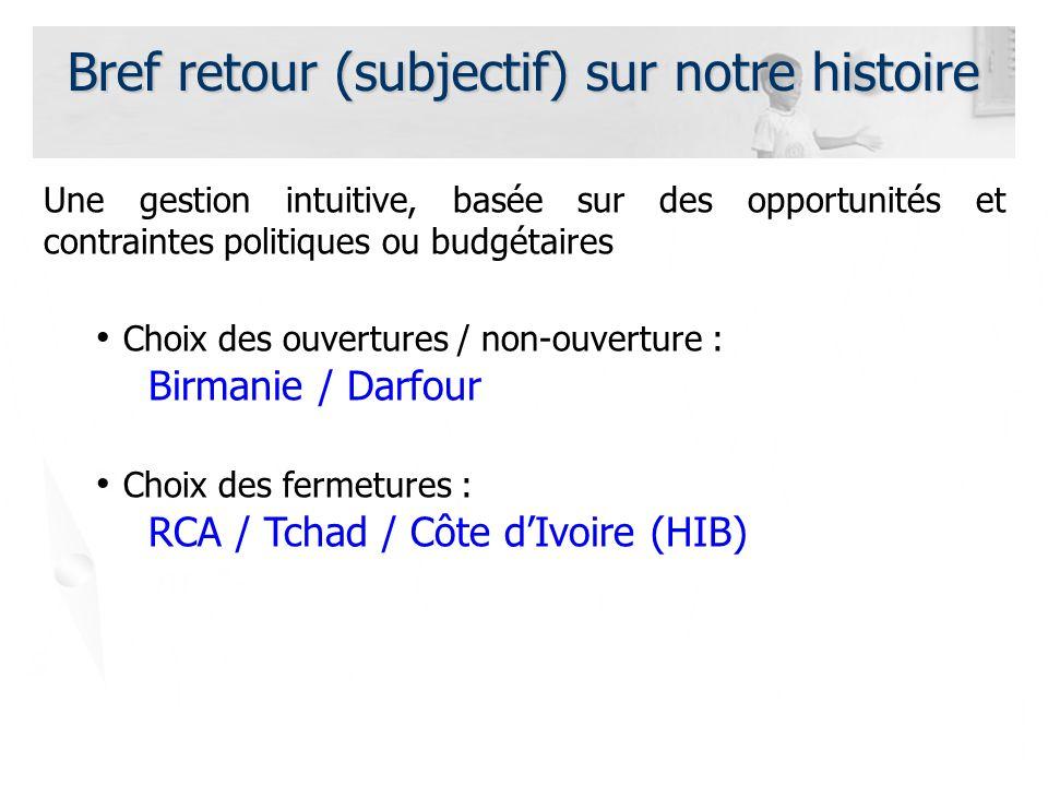 Bref retour (subjectif) sur notre histoire Une gestion intuitive, basée sur des opportunités et contraintes politiques ou budgétaires Choix des ouvertures / non-ouverture : Birmanie / Darfour Choix des fermetures : RCA / Tchad / Côte dIvoire (HIB)