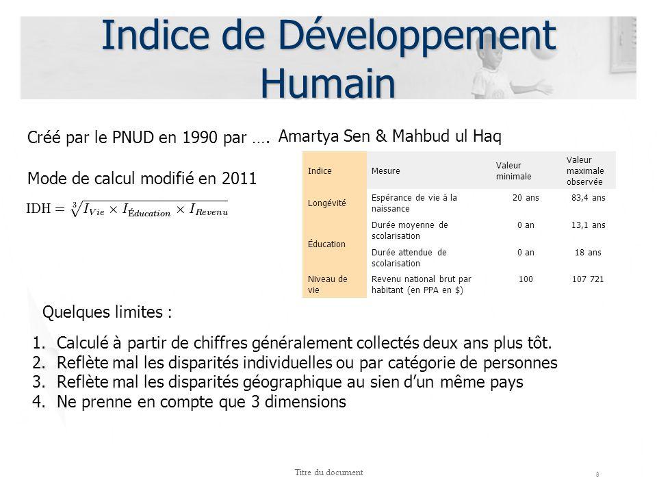 8 Titre du document Indice de Développement Humain Créé par le PNUD en 1990 par …. Amartya Sen & Mahbud ul Haq Mode de calcul modifié en 2011 1.Calcul