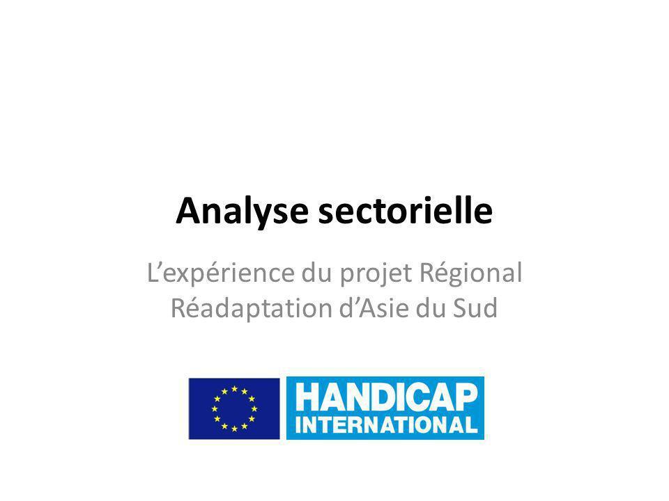 Analyse sectorielle Lexpérience du projet Régional Réadaptation dAsie du Sud