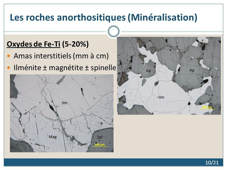 Les roches anorthositiques (Minéralisation) Oxydes de Fe-Ti (5-20%) Amas interstitiels (mm à cm) Ilménite ± magnétite ± spinelle 10/21