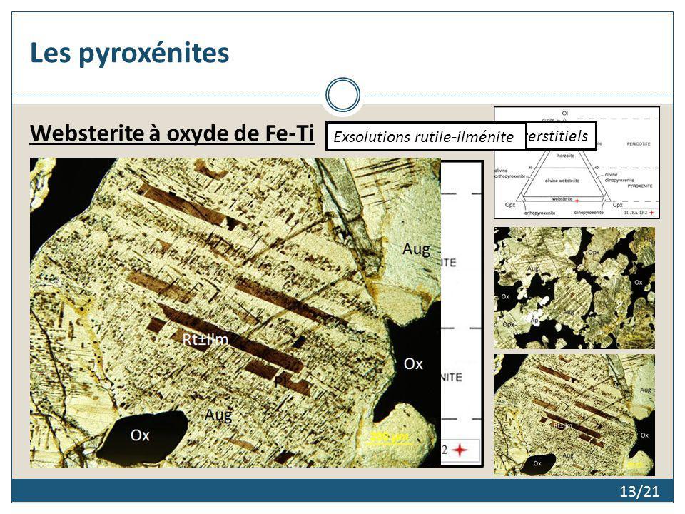 Les pyroxénites 13/21 Websterite à oxyde de Fe-Ti Orthocumulats et oxydes interstitiels Exsolutions rutile-ilménite