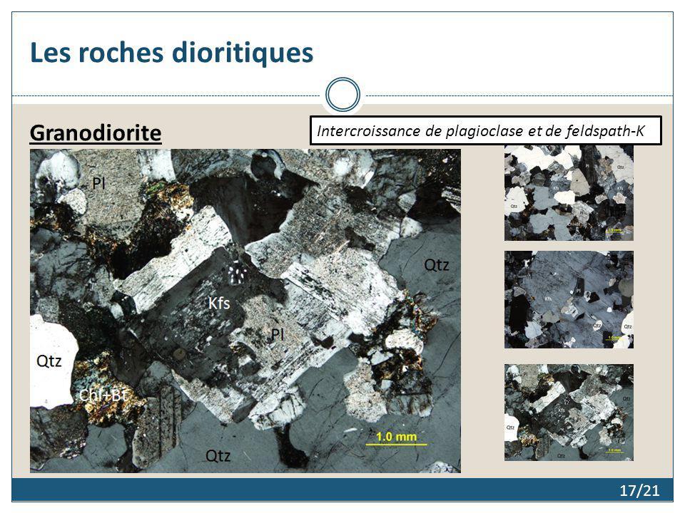 Les roches dioritiques 17/21 Granodiorite Texture granulaireTexture poecilitiqueIntercroissance de plagioclase et de feldspath-K