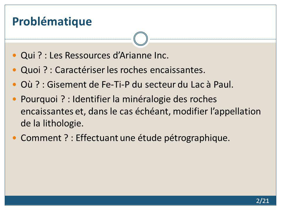 Problématique Qui ? : Les Ressources dArianne Inc. Quoi ? : Caractériser les roches encaissantes. Où ? : Gisement de Fe-Ti-P du secteur du Lac à Paul.