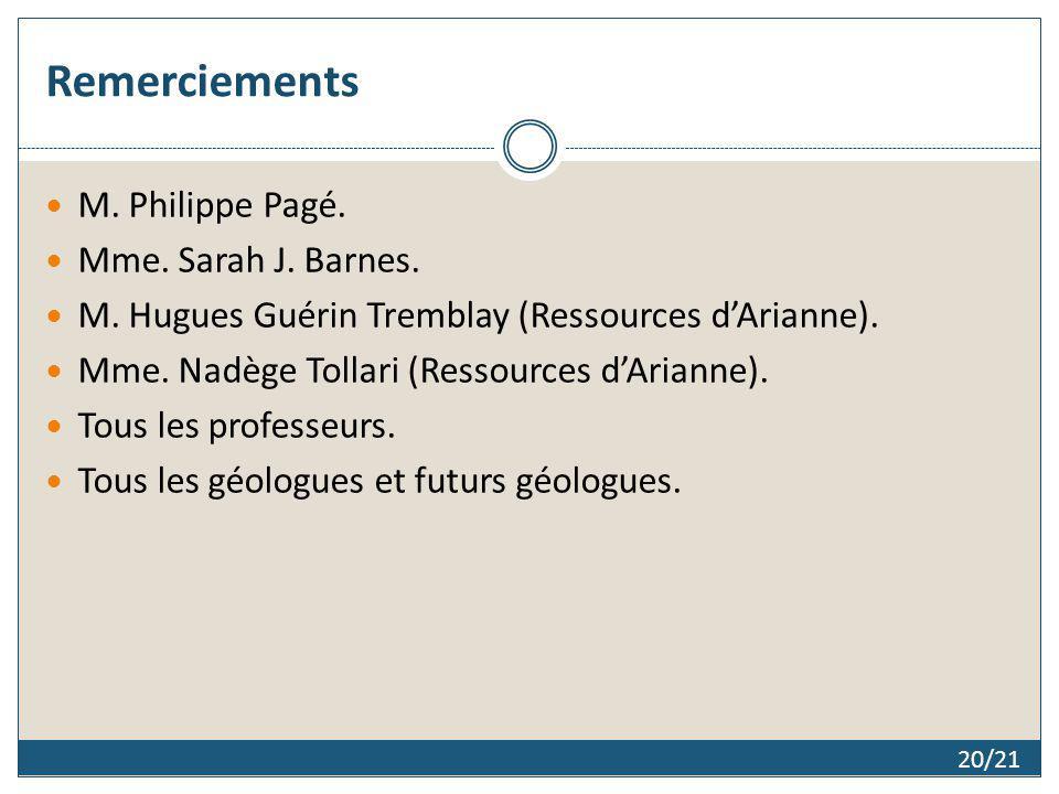 Remerciements 20/21 M. Philippe Pagé. Mme. Sarah J. Barnes. M. Hugues Guérin Tremblay (Ressources dArianne). Mme. Nadège Tollari (Ressources dArianne)