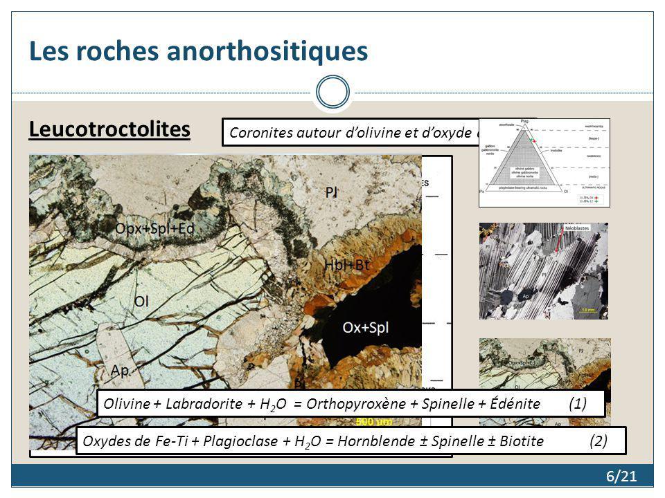 6/21 Les roches anorthositiques Leucotroctolites Olivine + Labradorite + H 2 O = Orthopyroxène + Spinelle + Édénite(1) Oxydes de Fe-Ti + Plagioclase +