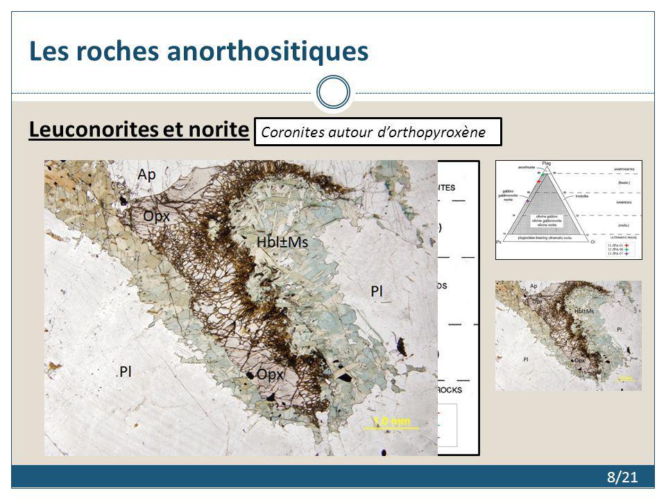 8/21 Les roches anorthositiques Leuconorites et norite Coronites autour dorthopyroxène