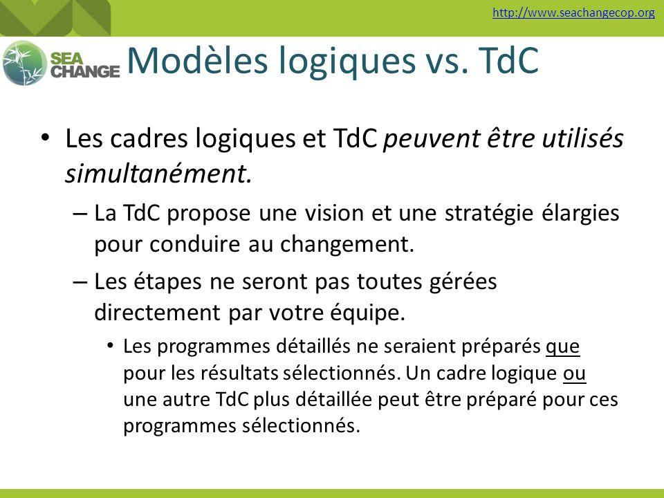 http://www.seachangecop.org Modèles logiques vs. TdC Les cadres logiques et TdC peuvent être utilisés simultanément. – La TdC propose une vision et un