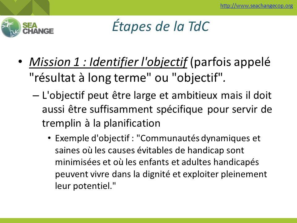 http://www.seachangecop.org Étapes de la TdC Mission 1 : Identifier l'objectif (parfois appelé