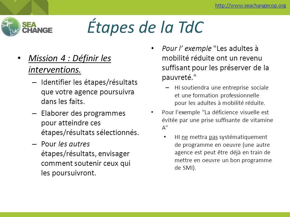 http://www.seachangecop.org Étapes de la TdC Mission 4 : Définir les interventions. – Identifier les étapes/résultats que votre agence poursuivra dans