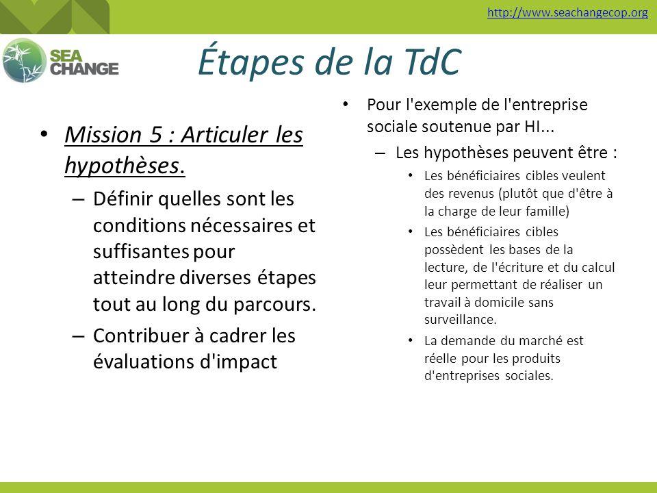 http://www.seachangecop.org Étapes de la TdC Mission 5 : Articuler les hypothèses. – Définir quelles sont les conditions nécessaires et suffisantes po