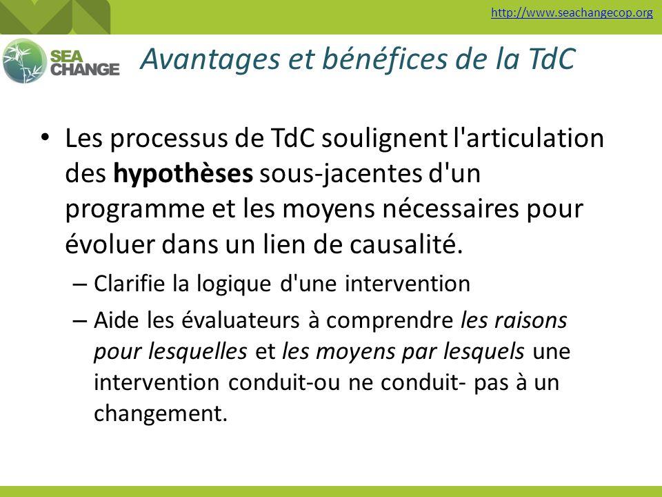 http://www.seachangecop.org Avantages et bénéfices de la TdC Les processus de TdC soulignent l'articulation des hypothèses sous-jacentes d'un programm
