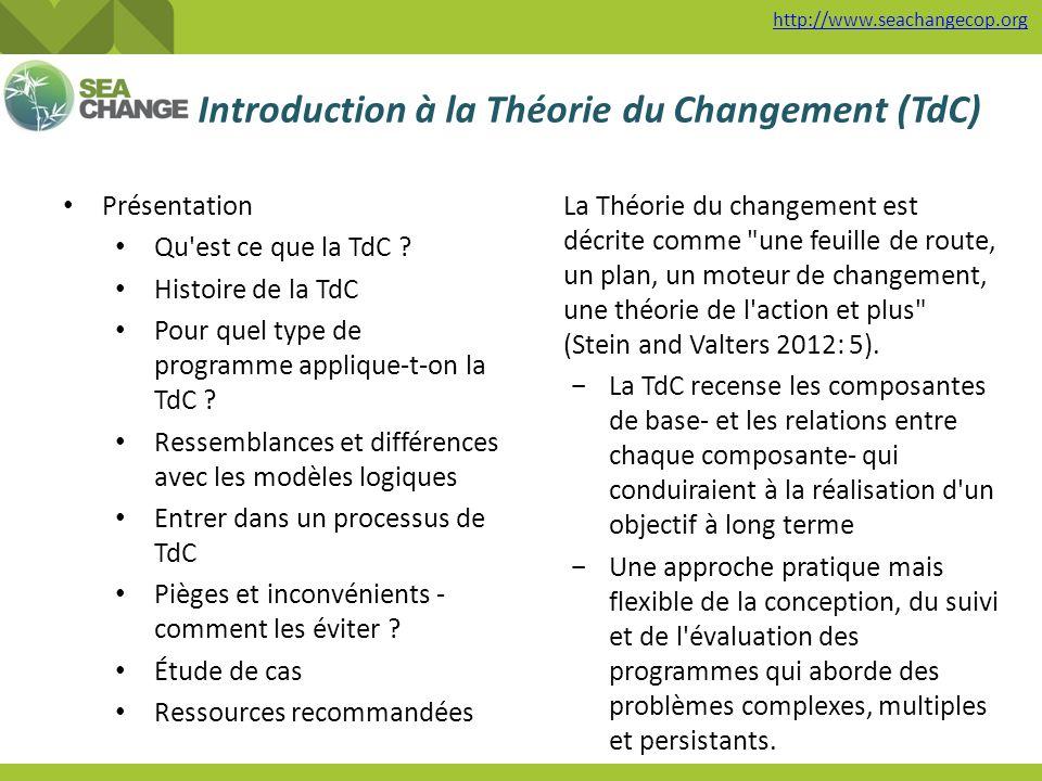 Introduction à la Théorie du Changement (TdC) http://www.seachangecop.org Présentation Qu'est ce que la TdC ? Histoire de la TdC Pour quel type de pro