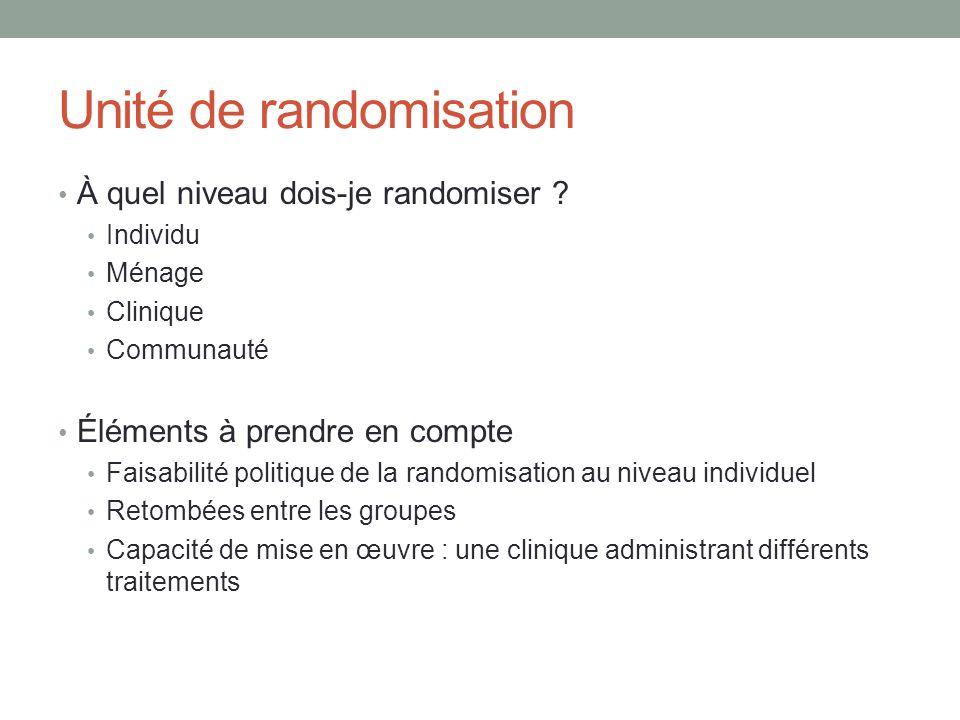 Unité de randomisation À quel niveau dois-je randomiser .