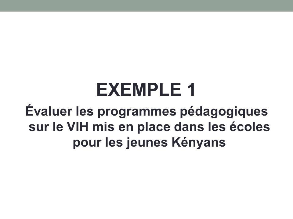 EXEMPLE 1 Évaluer les programmes pédagogiques sur le VIH mis en place dans les écoles pour les jeunes Kényans