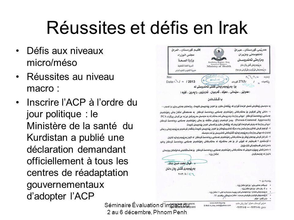 Réussites et défis en Irak Défis aux niveaux micro/méso Réussites au niveau macro : Inscrire lACP à lordre du jour politique : le Ministère de la sant