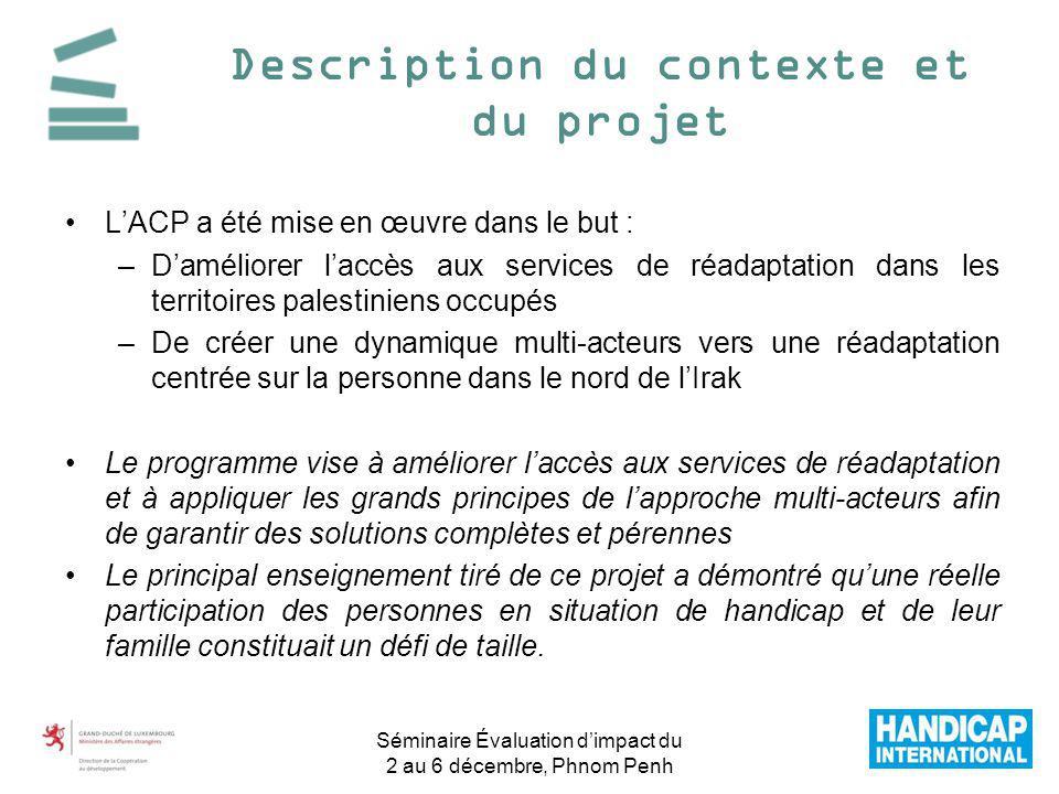 LACP a été mise en œuvre dans le but : –Daméliorer laccès aux services de réadaptation dans les territoires palestiniens occupés –De créer une dynamiq