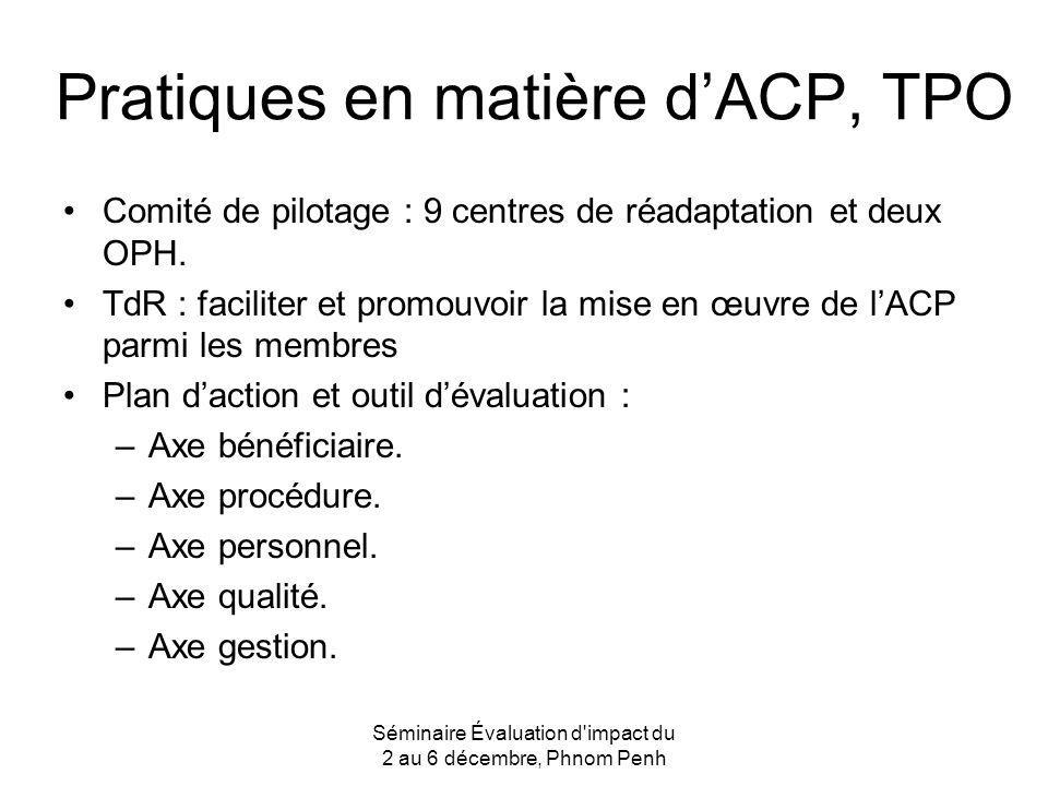 Pratiques en matière dACP, TPO Comité de pilotage : 9 centres de réadaptation et deux OPH. TdR : faciliter et promouvoir la mise en œuvre de lACP parm