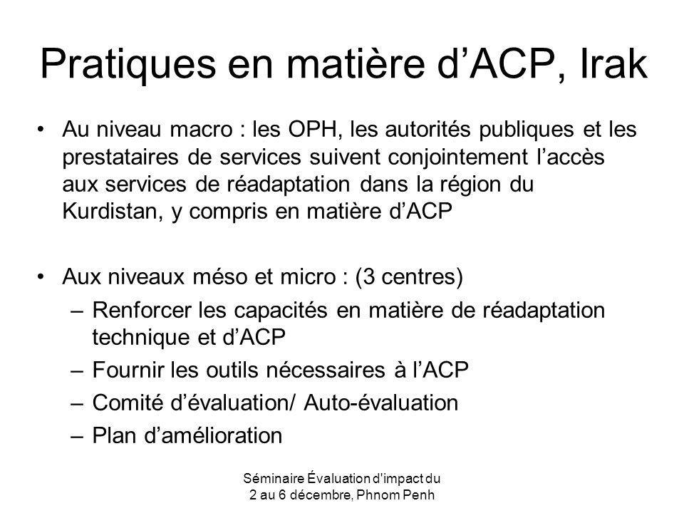 Pratiques en matière dACP, Irak Au niveau macro : les OPH, les autorités publiques et les prestataires de services suivent conjointement laccès aux se