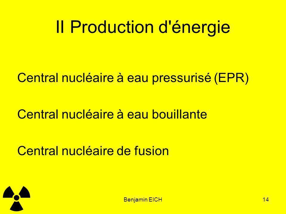 Benjamin EICH14 II Production d'énergie Central nucléaire à eau pressurisé (EPR) Central nucléaire à eau bouillante Central nucléaire de fusion