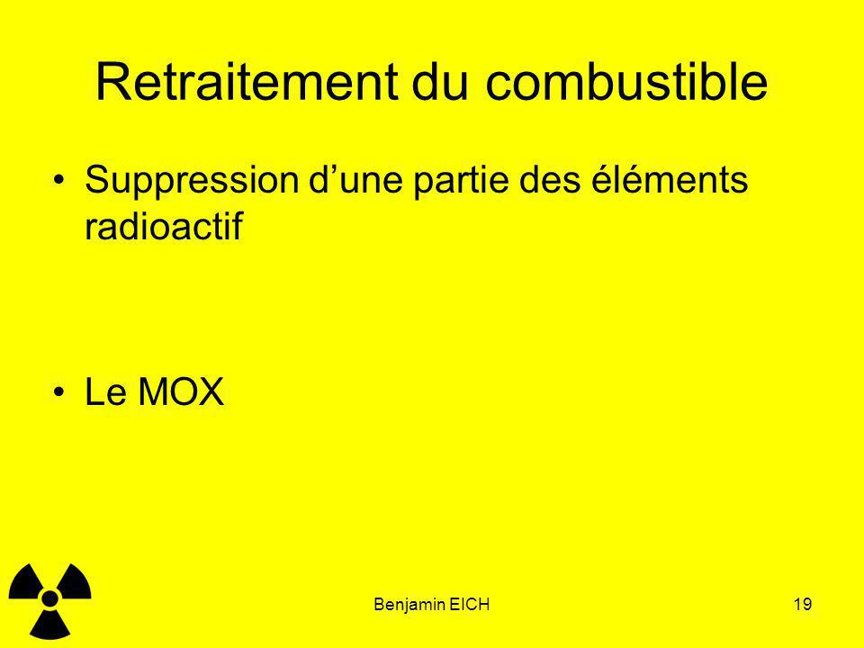 Benjamin EICH19 Retraitement du combustible Suppression dune partie des éléments radioactif Le MOX