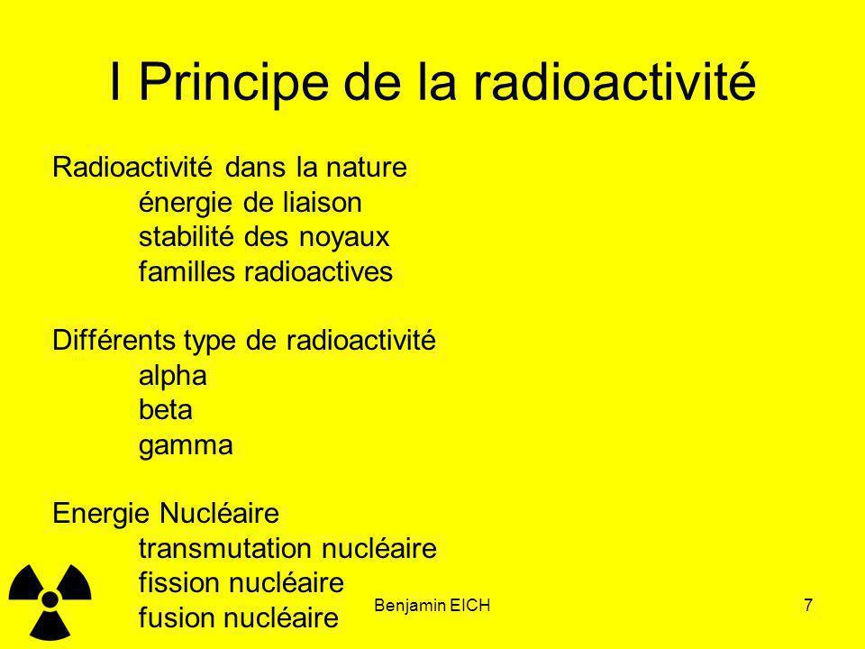 Benjamin EICH7 I Principe de la radioactivité Radioactivité dans la nature énergie de liaison stabilité des noyaux familles radioactives Différents ty