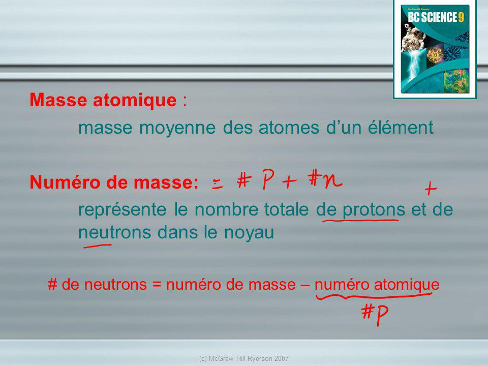 Masse atomique : masse moyenne des atomes dun élément Numéro de masse: représente le nombre totale de protons et de neutrons dans le noyau # de neutrons = numéro de masse – numéro atomique (c) McGraw Hill Ryerson 2007