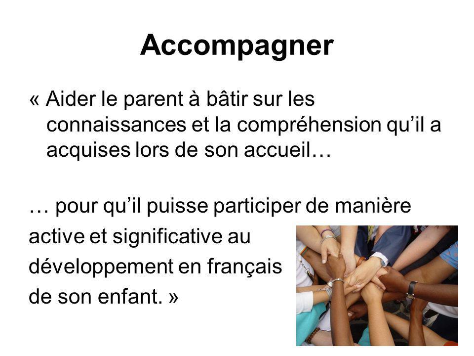 Accompagner « Aider le parent à bâtir sur les connaissances et la compréhension quil a acquises lors de son accueil… … pour quil puisse participer de manière active et significative au développement en français de son enfant.
