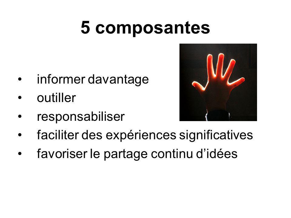 5 composantes informer davantage outiller responsabiliser faciliter des expériences significatives favoriser le partage continu didées