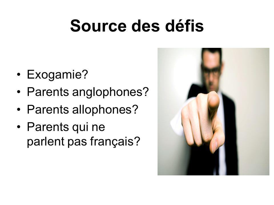 Source des défis Exogamie? Parents anglophones? Parents allophones? Parents qui ne parlent pas français?