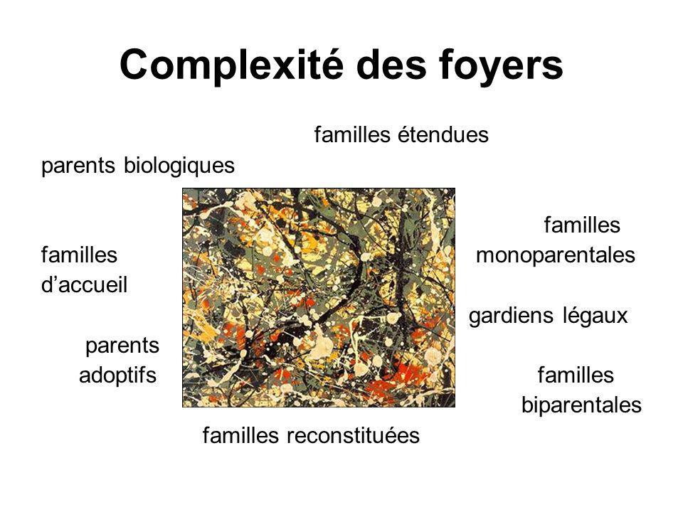 Complexité des foyers familles étendues parents biologiques familles familles monoparentales daccueil gardiens légaux parents adoptifs familles biparentales familles reconstituées