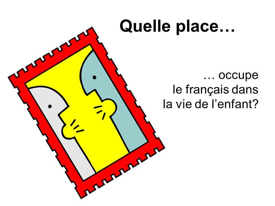 Quelle place… … occupe le français dans la vie de lenfant