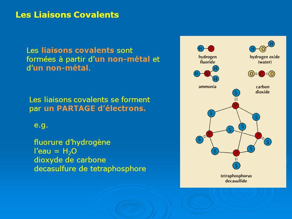 Les Liaisons Covalents Les liaisons covalents sont formées à partir dun non-métal et dun non-métal. Les liaisons covalents se forment par un PARTAGE d
