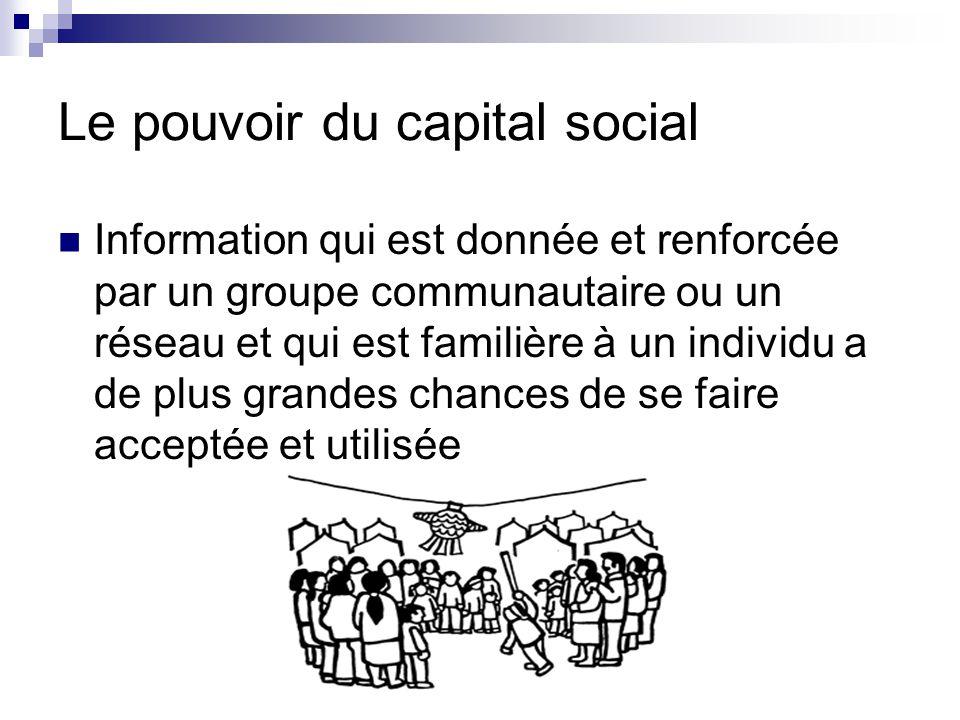 Le pouvoir du capital social Information qui est donnée et renforcée par un groupe communautaire ou un réseau et qui est familière à un individu a de plus grandes chances de se faire acceptée et utilisée