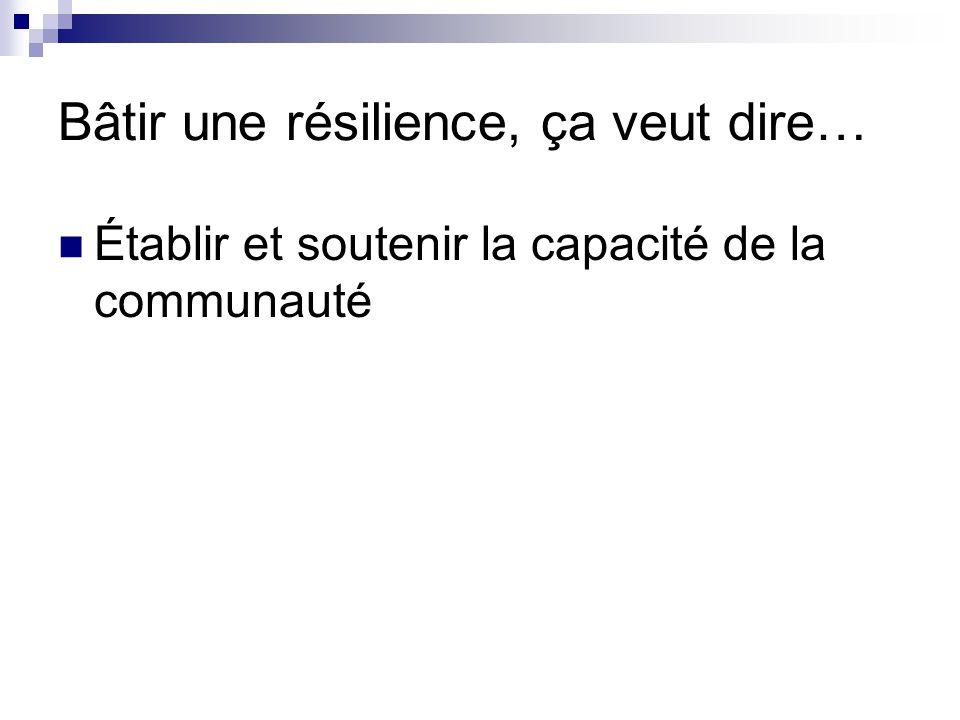 Bâtir une résilience, ça veut dire… Établir et soutenir la capacité de la communauté