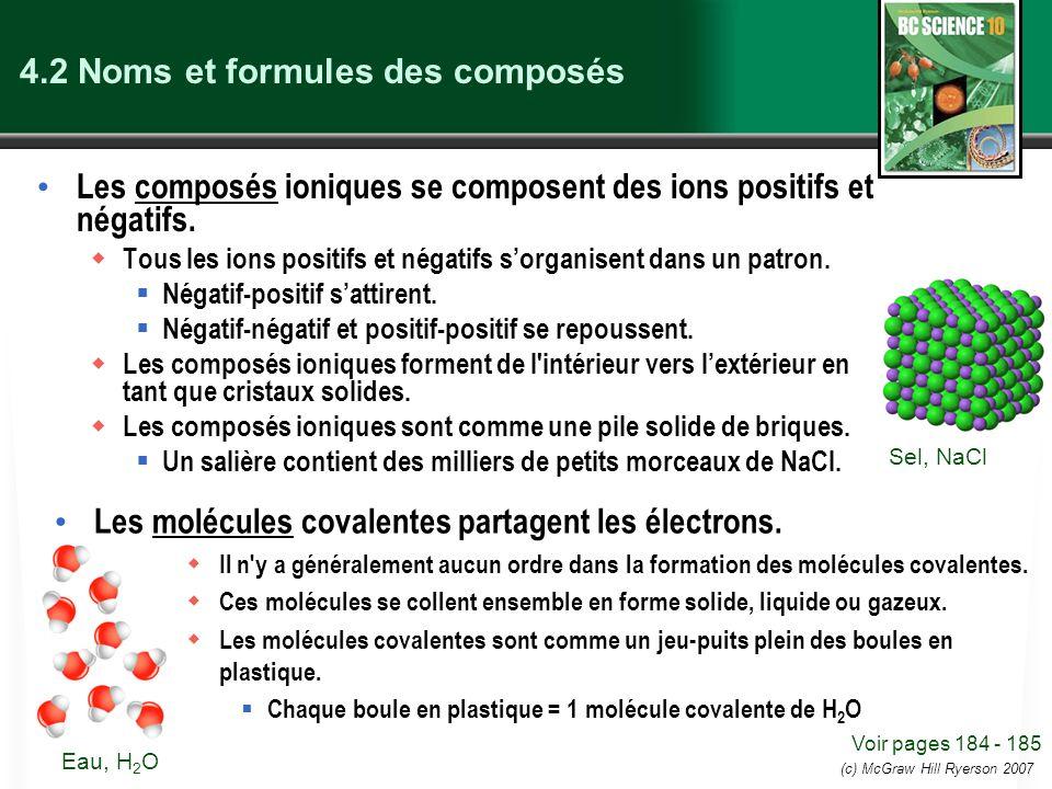 (c) McGraw Hill Ryerson 2007 Le nom et formule chimique d un composé ionique Les composés ioniques se composent d ions positifs et d ions négatifs.