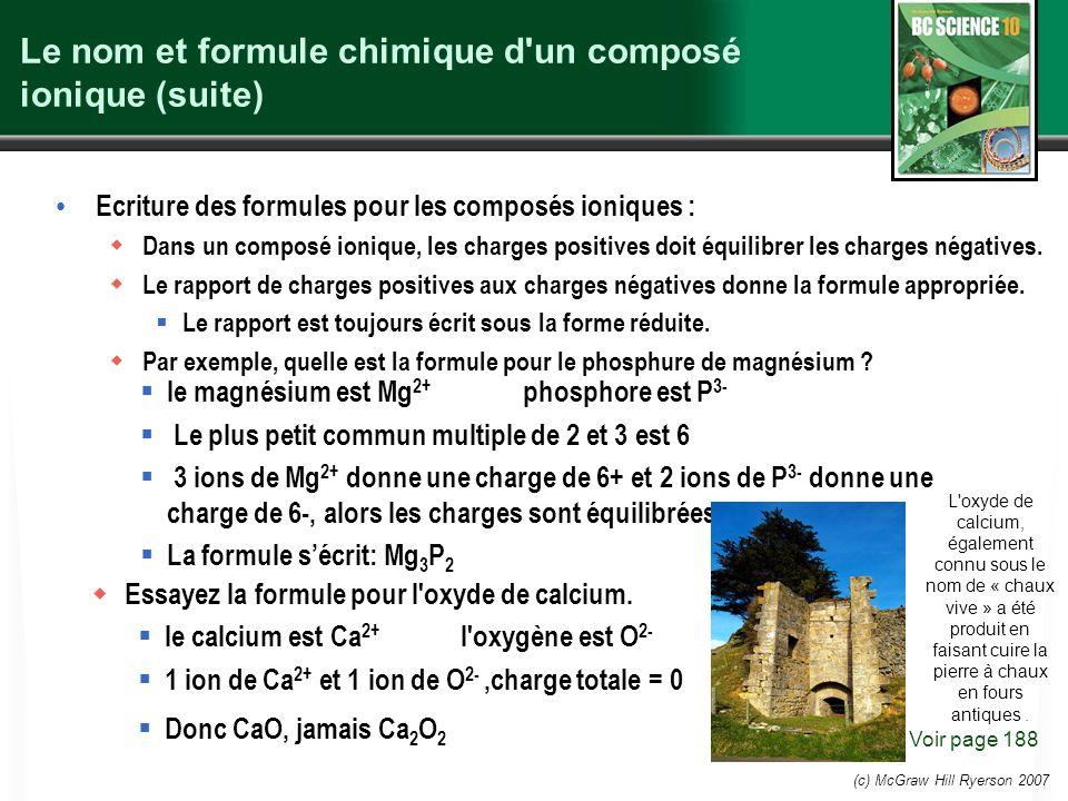 (c) McGraw Hill Ryerson 2007 Le nom et formule chimique d'un composé ionique (suite) Ecriture des formules pour les composés ioniques : Dans un compos