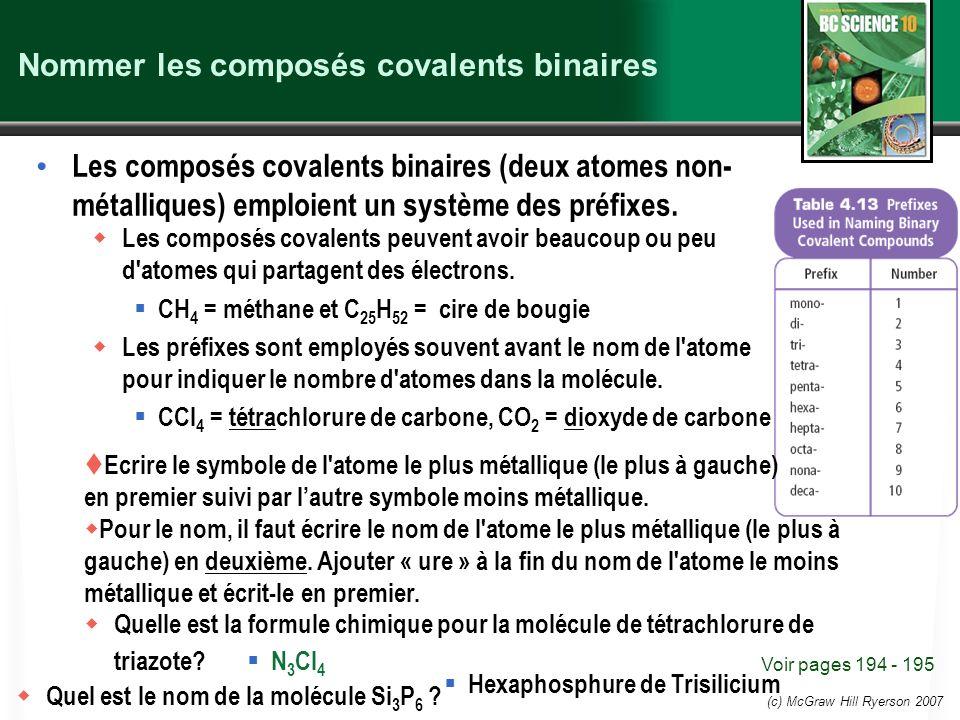 (c) McGraw Hill Ryerson 2007 Nommer les composés covalents binaires Les composés covalents binaires (deux atomes non- métalliques) emploient un systèm