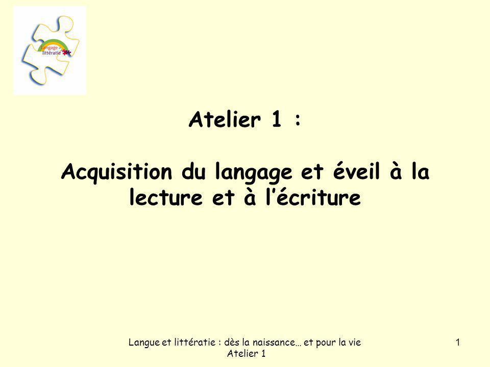 Langue et littératie : dès la naissance… et pour la vie Atelier 1 2 Objectifs visés par latelier 1.Comprendre lexpression « éveil à la lecture et à lécriture ».