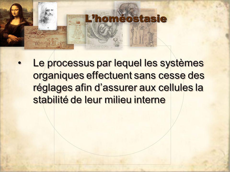 LhoméostasieLhoméostasie Le processus par lequel les systèmes organiques effectuent sans cesse des réglages afin dassurer aux cellules la stabilité de