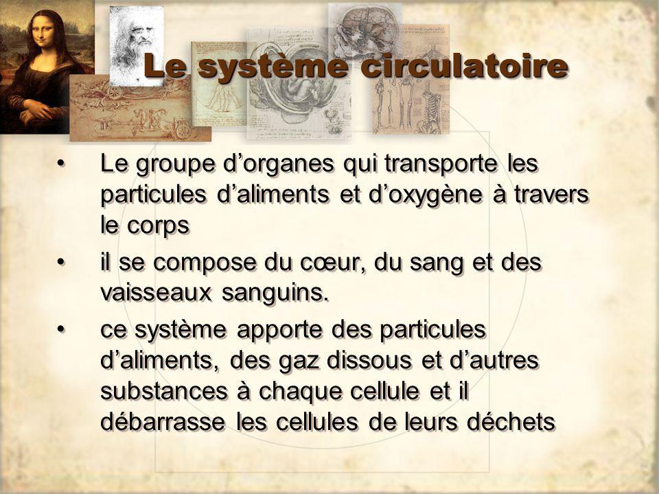 Le système circulatoire Le groupe dorganes qui transporte les particules daliments et doxygène à travers le corps il se compose du cœur, du sang et de
